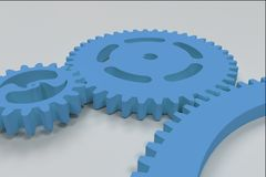 Set of blue gears and cogs on white background. Mechanical background. 3D rendering illustration Royalty Free Stock Image