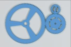 Set of blue gears and cogs on white background. Mechanical background. 3D rendering illustration Stock Photography