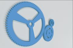 Set of blue gears and cogs on white background. Mechanical background. 3D rendering illustration Royalty Free Stock Photo