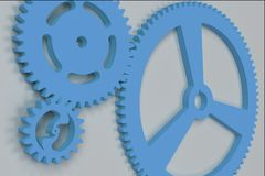 Set of blue gears and cogs on white background. Mechanical background. 3D rendering illustration Royalty Free Stock Images