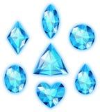 Set of blue gems stock images
