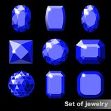 Set of blue gems sapphire of various shapes. Stock Photo