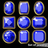 Set of blue gems sapphire of various shapes. Stock Image