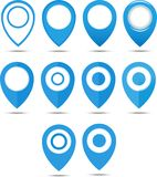 Set of 12 blue geo pins. Geolocation signs set. Geolocate and navigation sign. Royalty Free Stock Photos