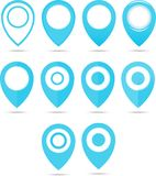 Set of 12 blue geo pins. Geolocation signs set. Geolocate and navigation sign. Stock Images