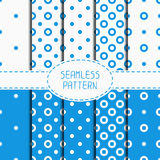Set of blue geometric seamless polka dot pattern Stock Photo