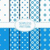 Set of blue geometric seamless polka dot pattern Stock Photo