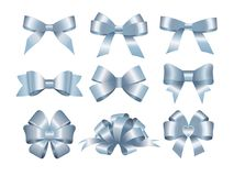 Set of blue gift bows.  Concept for invitation, banners, gift cards, congratulation or website layout vector. Stock Image
