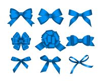 Set of blue gift bows.  Concept for invitation, banners, gift cards, congratulation or website layout vector. Royalty Free Stock Photos