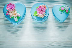Set of blue gift boxes on wooden board holidays concept Stock Photography