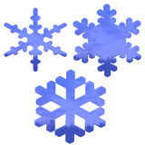 Set of blue, glass effect snow flakes over white. Background Stock Images