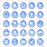 Set of blue glassy buttons for game interfaces Royalty Free Stock Photography