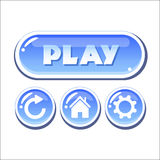 Set of blue glassy vector buttons Stock Photo