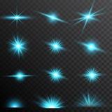 Set blue glow light lens effect sparkles on transparent background.