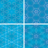 Set of blue glowing abstrack seamless background Stock Photo