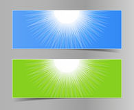 Set of blue-green horizontal banners Royalty Free Stock Images