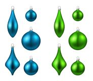 Blue and green isolated Christmas balls set. Stock Photography