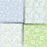 Set of blue and green seamless floral patterns. Vector illustration. Stock Photography