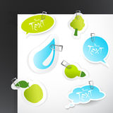 Set of blue green stickers. Royalty Free Stock Image