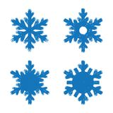 Set of blue grunge style flat brush stroke snow flakes Stock Photography