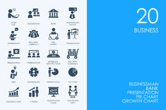 Set of BLUE HAMSTER Library business icons Royalty Free Stock Images