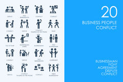 Set of BLUE HAMSTER Library business people conflict icons. BLUE HAMSTER Library business people conflict vector set of modern simple icons stock illustration