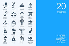 Set of BLUE HAMSTER Library circus icons Royalty Free Stock Images