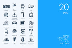 Set of BLUE HAMSTER Library city icons Royalty Free Stock Photography