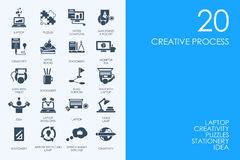 Set of BLUE HAMSTER Library creative process icons Royalty Free Stock Image