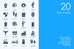 Set of BLUE HAMSTER Library fast food icons Royalty Free Stock Photos