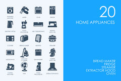 Set of BLUE HAMSTER Library home appliances icons royalty free illustration