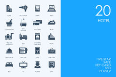 Set of BLUE HAMSTER Library hotel icons Stock Images