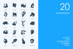 Set of BLUE HAMSTER Library mammals icons Stock Image