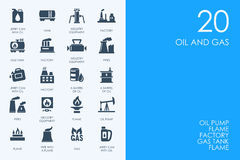 Set of BLUE HAMSTER Library oil and gas icons. BLUE HAMSTER Library oil and gas vector set of modern simple icons royalty free illustration
