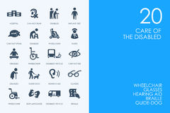 Set of BLUE HAMSTER Library people with disabilities icons royalty free illustration
