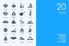 Set of BLUE HAMSTER Library yoga icons vector illustration