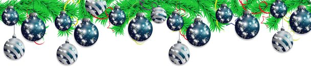Set blue hanging Christmas baubles on a background of fir branches.  Christmas decoration elements for holiday design. Vec. Tor illustration Stock Photography