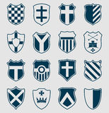 Set of blue heraldic shields Royalty Free Stock Photos