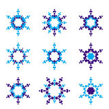 Set of 9 Blue Hexagon star icon. Vector Royalty Free Illustration