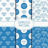 Set of blue hipster fashion geometric seamless Stock Images