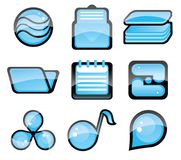 Set of blue icon Royalty Free Stock Photos