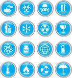 Set of blue icons Royalty Free Stock Photos