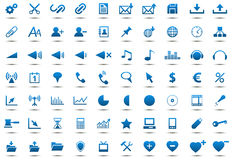Set of blue icons Stock Photography