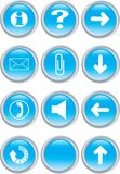 Set of blue icons Royalty Free Stock Photography