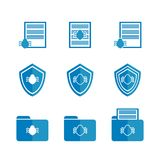 Set of blue icons for the anti-virus system. Raster logo with a virus, an antivirus shield folder with a virus on white background Stock Photography