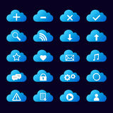 Set of blue icons cloud royalty free stock images