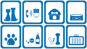 Icon goods with zoological products. Set blue icons goods with zoological products Royalty Free Stock Images