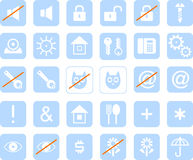 Set of blue icons for web design Stock Image