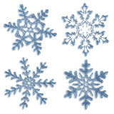 Set of blue icy snowflakes. On white background Stock Photo