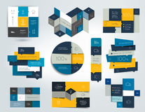 Set of Blue infographics elements, schedules, tabs, banners, charts. Royalty Free Stock Images
